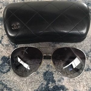 Chanel denim aviator sunglasses